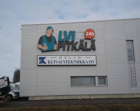 LVI Pitkälä muotokotelo valomainos Oulussa